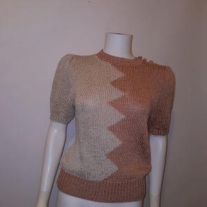 Vintage Weathervane Short Sleeve Two tone Sweater